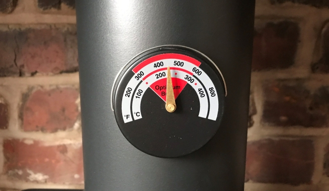 A stove pipe thermometer